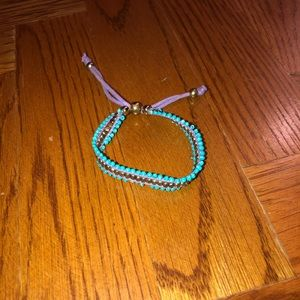Aqua and burble beaded bracelet